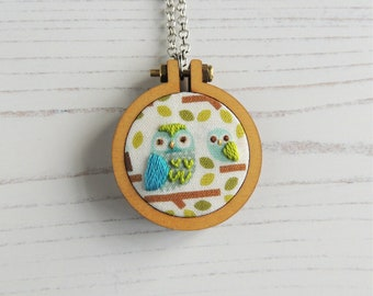 Baby shower gift, mother's day gift, gifts under 50, handmade pendant, hand embroidered pendant, owl jewellery, hand embroidered necklace