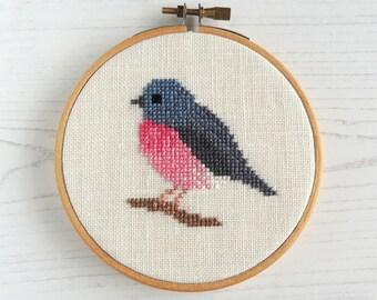 cross stitch bird pattern. Pink Robin. pink bird cross stitch. Cross stitch bird design. Small cross stitch. Bird embroidery pattern.