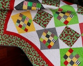 """Handmade Quilt - Lady Bugs and Daisies 66"""" x 82"""" Quilt with Red, Black, Yellow and Green Blocks on a White Background"""