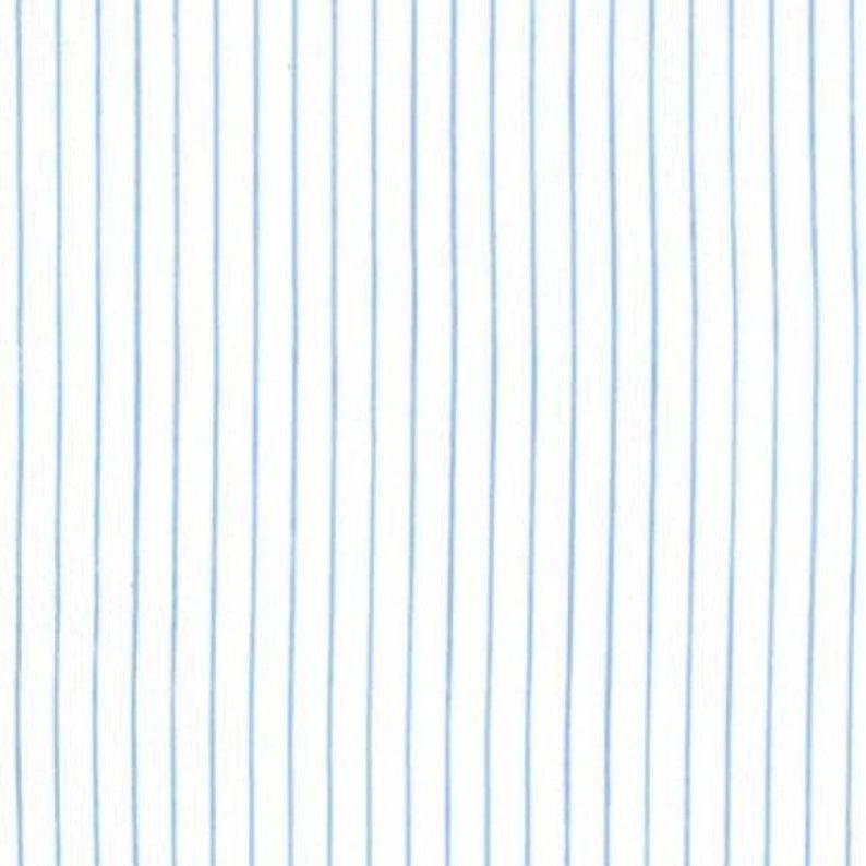 CX6966-BLUE-D Blue Fine Lines Stripe on White by Michael Miller
