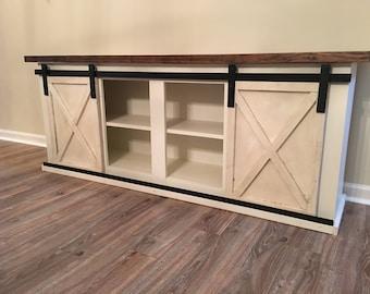 Custom Sliding Barn Door Cabinet- entertainment center, entry, buffet, console, credenza