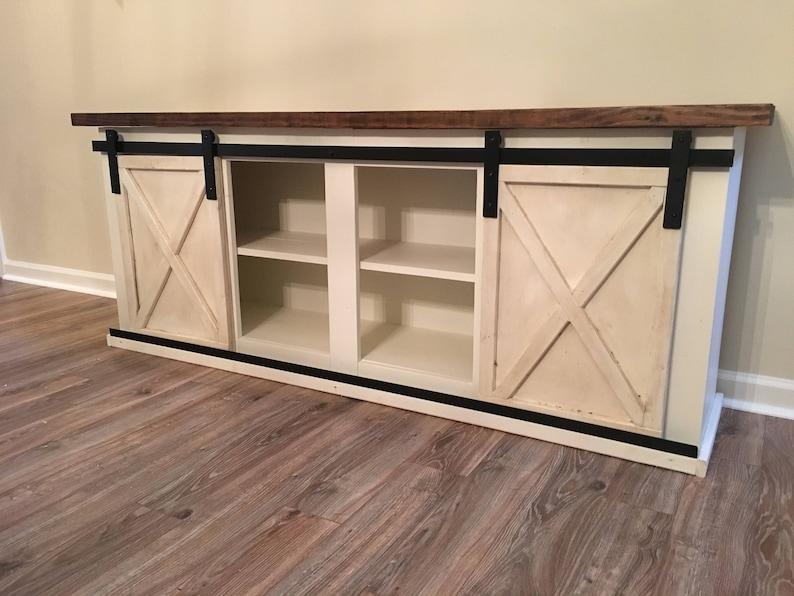 entry buffet console Custom Sliding Barn Door Cabinet- entertainment center credenza