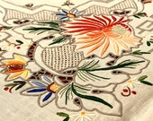 Madeira Bridge Tablecloth Napkins, Colorful Raised Floral Embroidery, Blue Orange Reds Green, Spring Flowers, 1950 39 s Vintage Table Linens