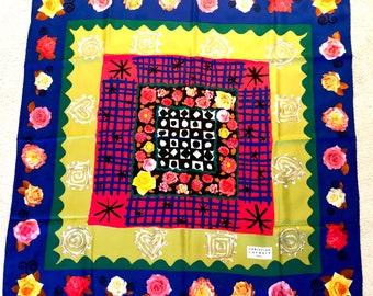 Christian Lacroix Paris foulard en soie motif Multi gras frontière Floral  lumineux Design fleur géométrique blanc noir rouge Design Vintage des  années 1990 ecbd57cb061