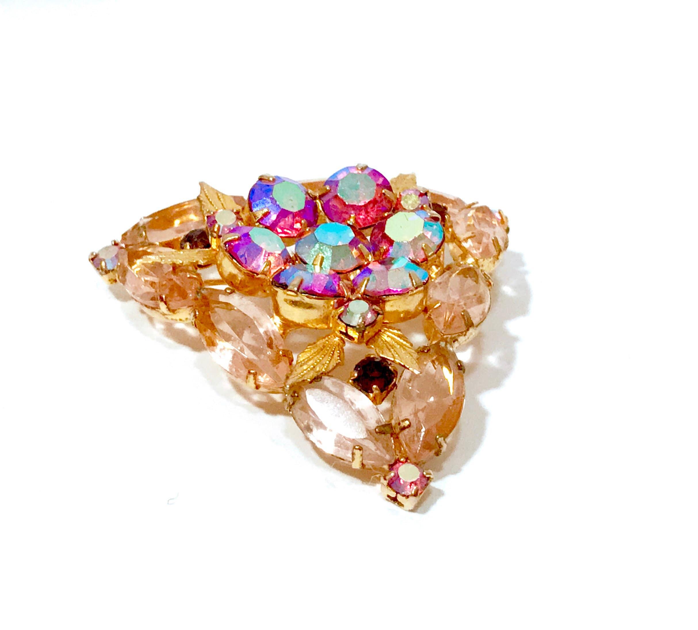 Rhinestone Crystal Brooch Buttons Domed Diamond Shape