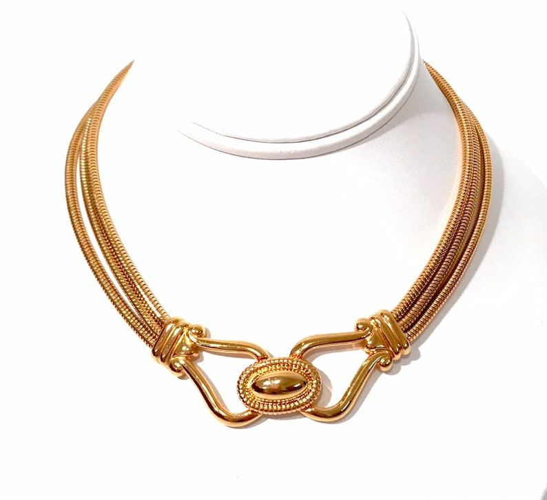 024d148e8a6ff Napier Snake Chain Necklace Gold Tone Triple Chain Choker Fold Over Buckle  Front Clasp Statement Necklace Vintage 1980s Gift For Her