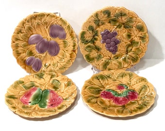 Sarreguemines French Majolica Fruit Plates, Set Of 4 Dessert Plates, French Country Plates, Grapes Pears Strawberries Plums Vintage Majolica