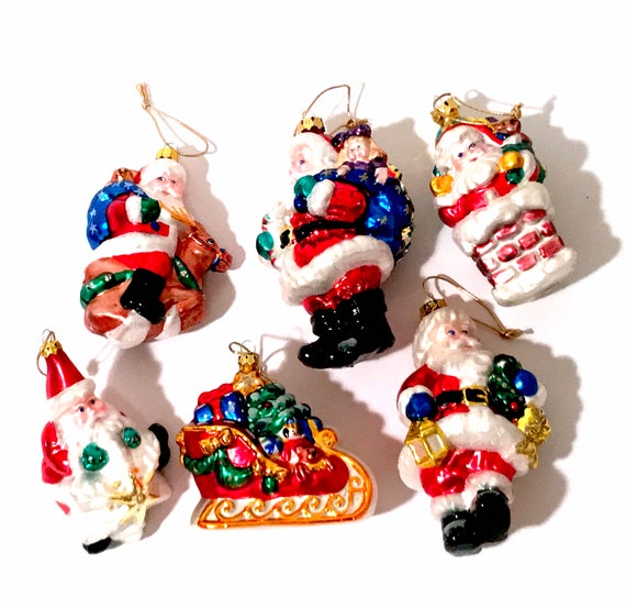 Vintage Christmas Ornaments, Set Of 6 Hand Made Glass Tree Ornaments Boxed, Santa Claus Delivering Children's Toy Gifts, Vintage 1990's