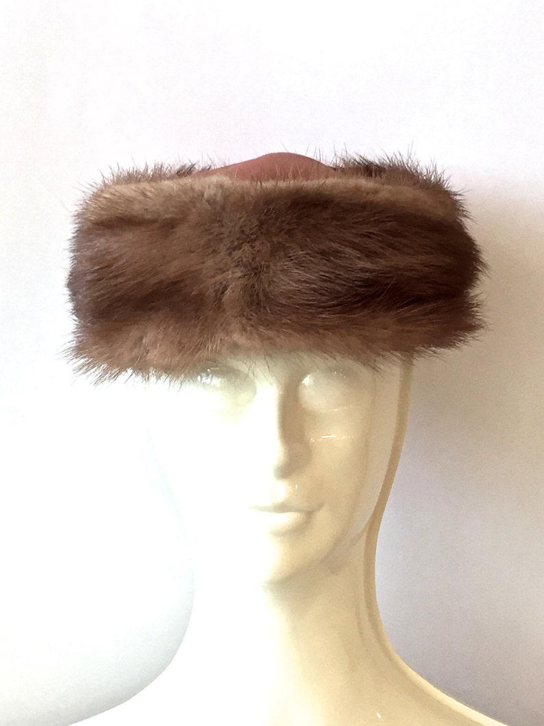 Mink Pillbox Hat Satin Crown And Bow Vintage Brown Mink Hat Mid Century  1950's 1960s Fur Hat Made In The USA, Vintage Gift For Her