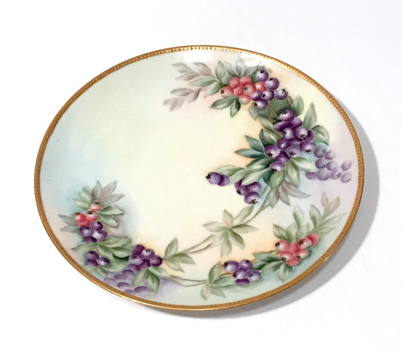 Antique French Limoges Plate Mayer Antique Haviland France Fruit Plate Hand Painted Pink /& Purple Berries Gold Beading Artist Signed K