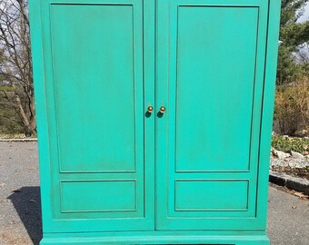 Hand Painted Vintage Cabinet / Cupboard - LOCAL PICKUP or DELIVERY Only