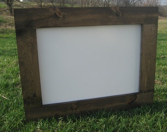 "Ready to ship rustic dry erase board dark walnut 16x20"" white board farmhouse office home kids playroom wedding event organization"