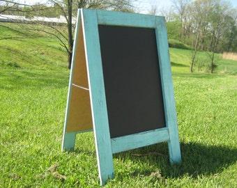 Ready to ship 2 sided rustic sidewalk chalkboard coastal easel sandwich chalkboard ocean breeze blue easel chalkboard A frame chalk board