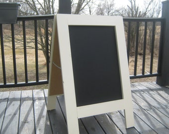 Sandwich chalkboard easel wedding menu sidewalk sign heirloom white color A frame solid wood chalk board 40 x 25 inches