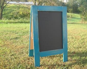 A-frame chalkboard teal blue sandwich chalkboard rustic sidewalk chalkboard chalk board easel wedding chalkboard business sign farmhouse