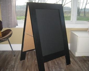 Sidewalk chalkboard  black two sided easel sandwich standing chalkboard  A frame rustic double sided a frame chalkboard  40 x 24