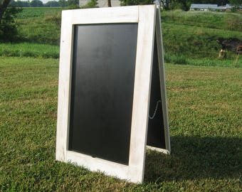 Extra large standing sidewalk chalkboard rustic white XL easel sandwich chalk board double sided A frame sidewalk sign business sign A-frame