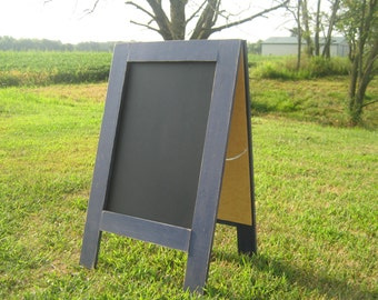 Two sided easel navy blue standing chalkboard double sided rustic distressed sidewalk chalkboard a frame chalk board outside chalkboard