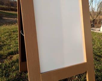 Dry erase A-frame sidewalk sign chestnut brown standing sandwich dry erase board white board double sided 2 sided wedding restaurant menu