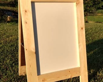 Sidewalk dry erase board sandwich board natural wood color double sided A frame sign business wedding small business