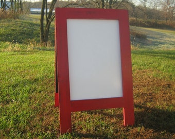 Dry erase rustic sidewalk board, distressed modern farmhouse double sided, A frame sandwich dry erase.  Outdoor use, two sided.