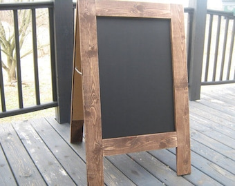 Pair of 2 stained A-frame sandwich chalkboards easel Two sidewalk chalkboards double sided easel chalk boards
