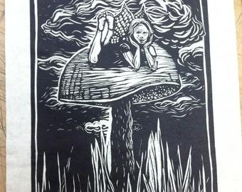 Fairy on a Mushroom linocut