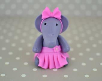 Fondant Girl Elephant cake topper