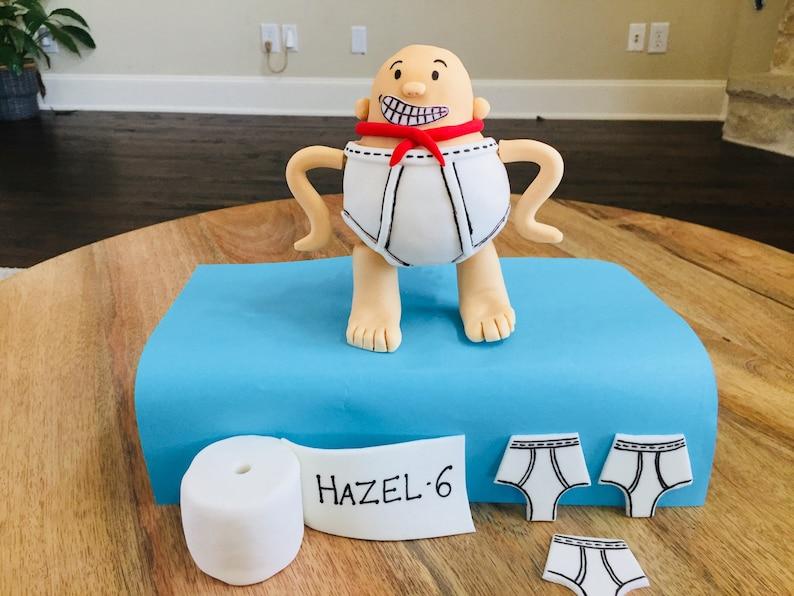 Fondant captain underpants cake topper