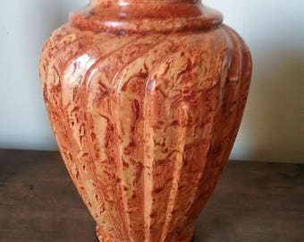 Glass vase vinegar painted in sienna