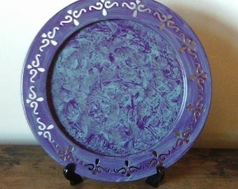 Vintage metal tray vinegar painted in purple on teal