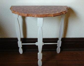 Demilune side table vinegar painted in sienna