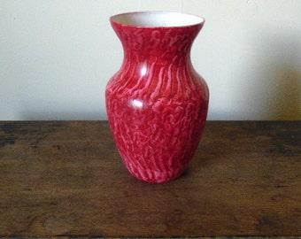 Glass vase vinegar painted in vermillion