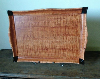 Vintage wooden tray vinegar painted in sienna with black