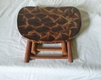Vintage Nevco stool vinegar painted in walnut