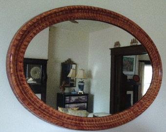 Large oval mirror vinegar painted in sienna