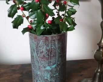 Glass vase vinegar painted in sienna on teal