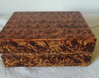 Wooden box vinegar painted in walnut