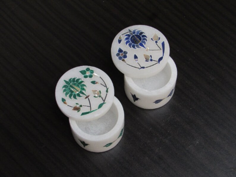 Marble Ring Box Lapis Malachite Semi Precious Stone Inlay Handmade Gift