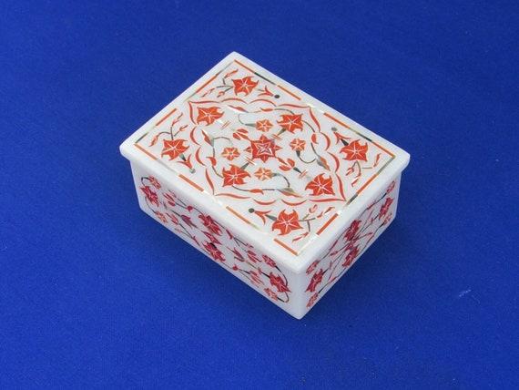 Semi Precious Stones Inlaid Trinket Box  with Pietra Dura Art  Beautiful Accessories  Box for Multi Purpose Use in 4 x 3 x 2  Inches