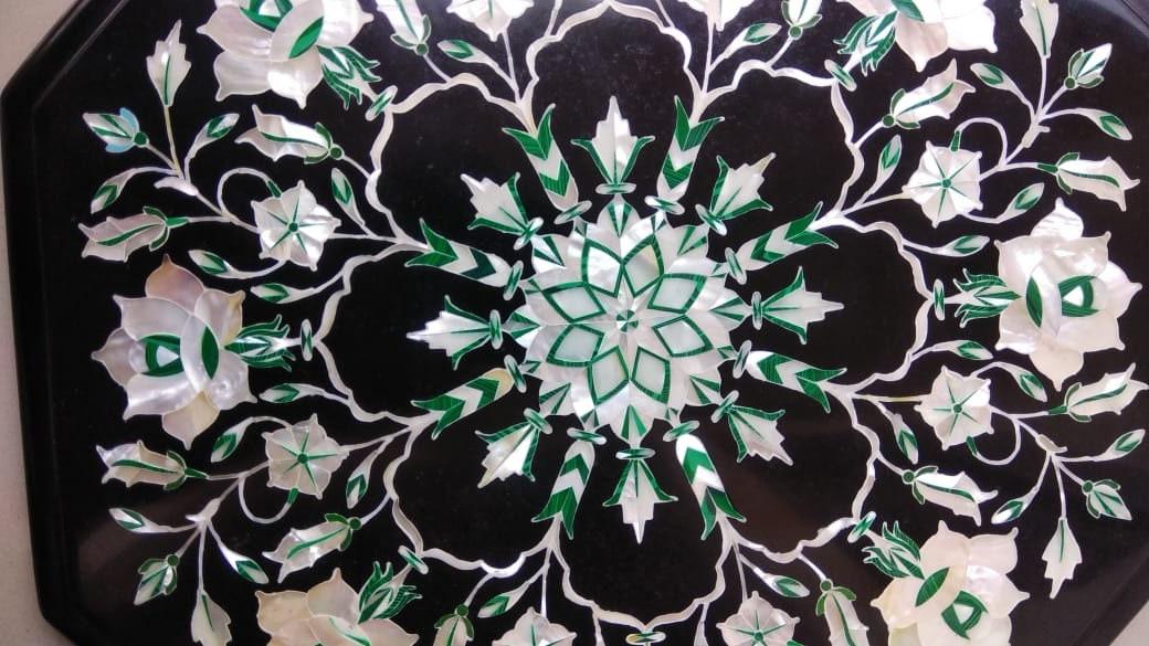 """12"""" Table en marbre noir Top Semi Precious Stone artisanat Inlay Floral Art Home Decor"""