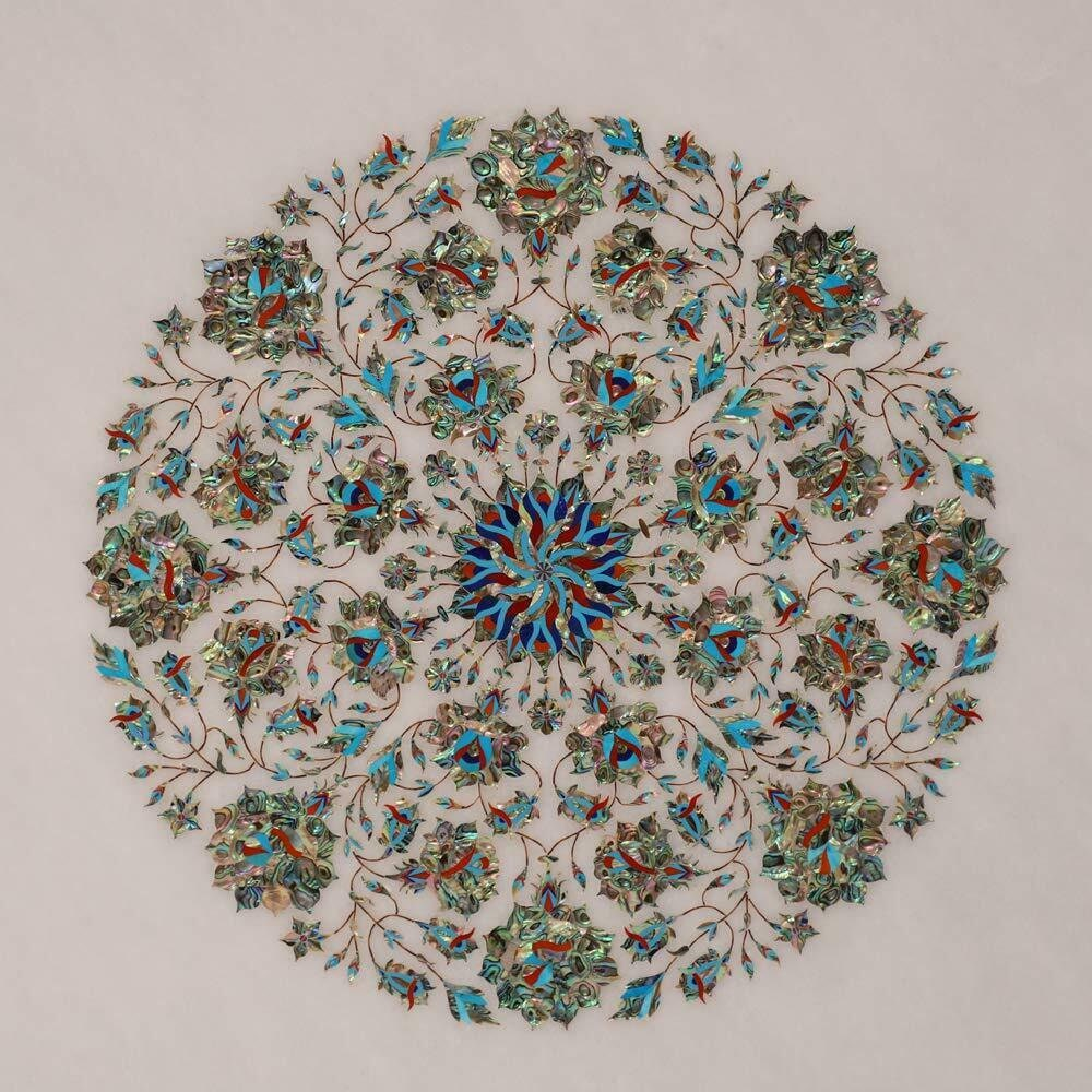 White Marble Center Table Top Semi Precious Stone Inlay Handmade Pietra Dura Art Décorative Meubles de maison