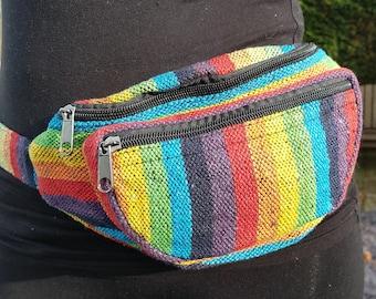Bright Colourful Rainbow Bumbag Money Belt Pouch Rasta Multicolour Hippy Boho Festival