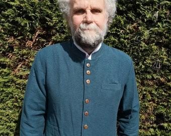 Mens Nehru Collar Jacket, Mandarin Modi Indian Grandad Kurta Long Style Hipster Jacket M L XL XXL, Grey Blue Red Black