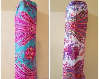 Bright Colourful Yoga Mat Bag/Holder, Pilates Yogi Meditation Pink Purple White Blue Paisley Design Hippie Boho Festival