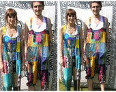 Patchwork dungarees jumpsuit overalls aztec funky festivals hippy boho, XS S M L XL XXL For All Ages All Sizes