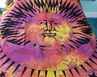 Sun and Moon Tie Dye Indian Throw Wall Hanging Tapastry Double/King Size Bohemian Colourful Hippy Hippie Festival