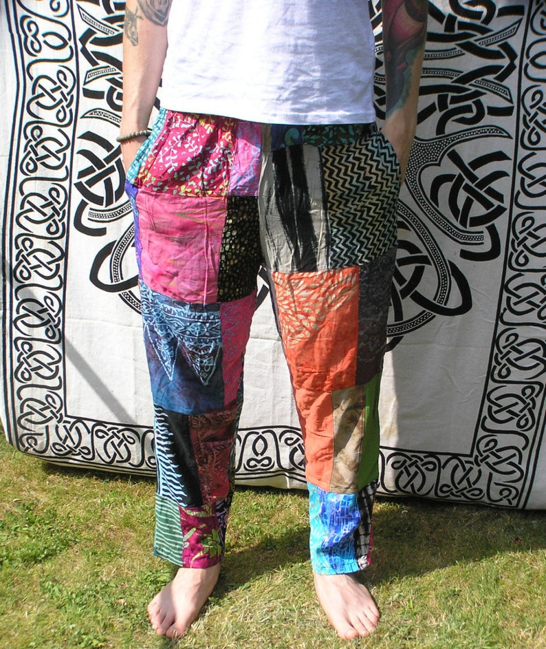 Unisex Patchwork Trousers Pants Adult Teen Funky Festival image 0