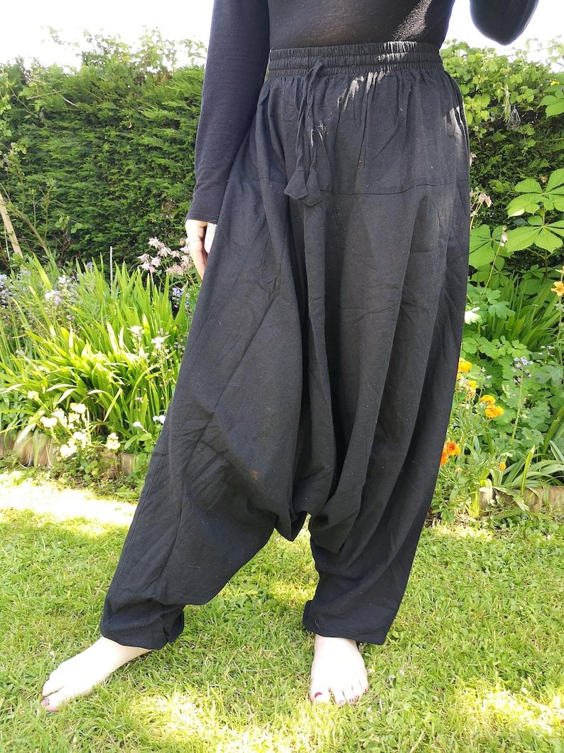 Men and Women/'s Black Harem Pants Trousers Yoga Pilates Festivals Hippy Boho Cotton