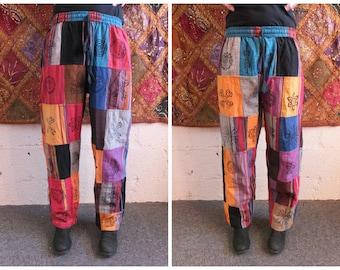 Men + Women's Heavy Cotton Patchwork Trousers, Block Print Symbols, Hippy Boho, S M L XL XXL